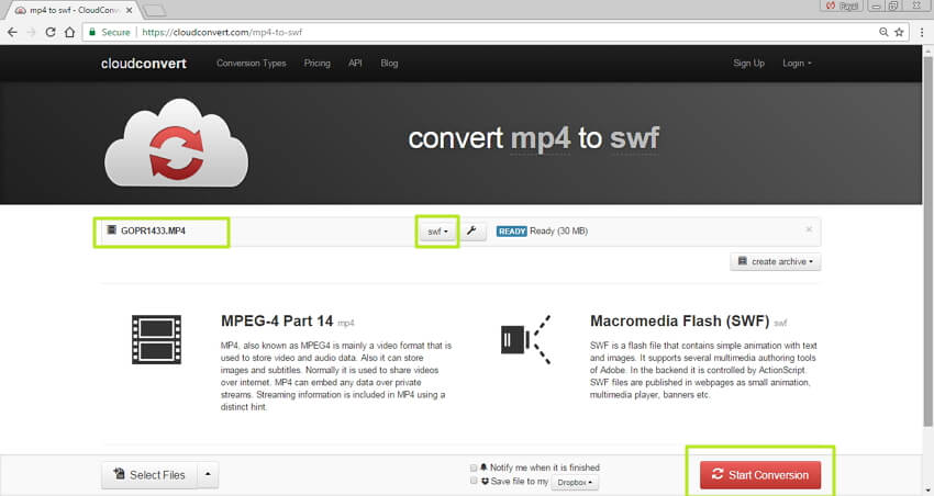 convert MP4 to SWF online -  download converted file