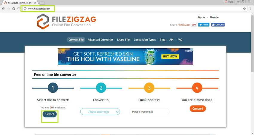 MP4 online in SWF konvertieren - Öffnen Sie die Website