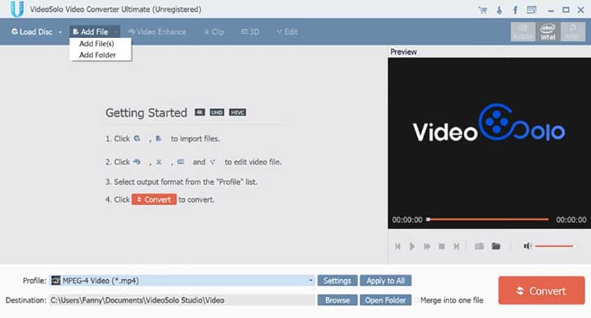 VideoSolo Video Converter Ultimate for DAT to MP4