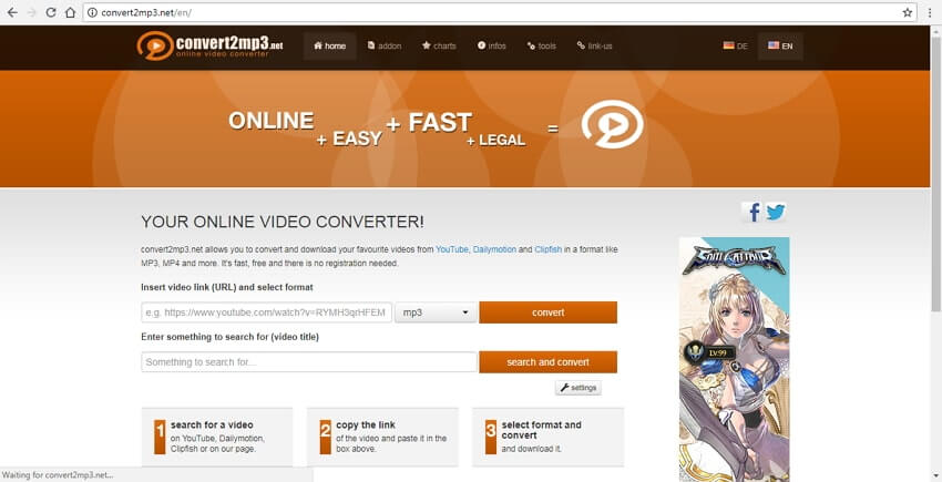Conversor de YouTube a MP4 Convert2mp3
