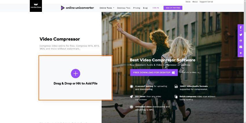 upload mp4 video to online video compressor