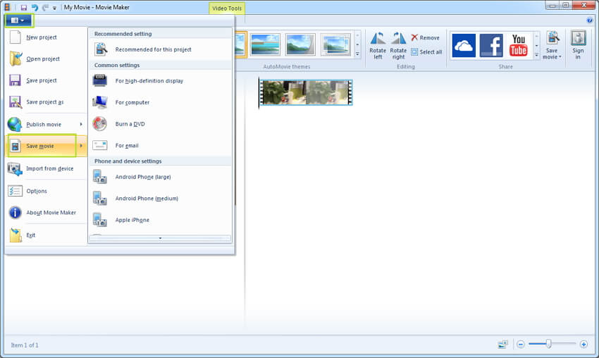 save Windows Movie Maker project as wmv file