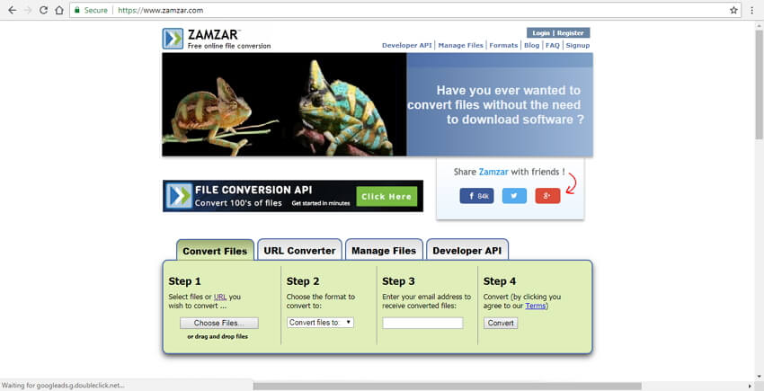 Convert WebM to MP4 online with Zamzar