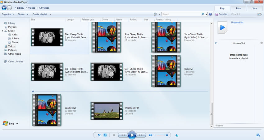 play videos with Windows Media Player