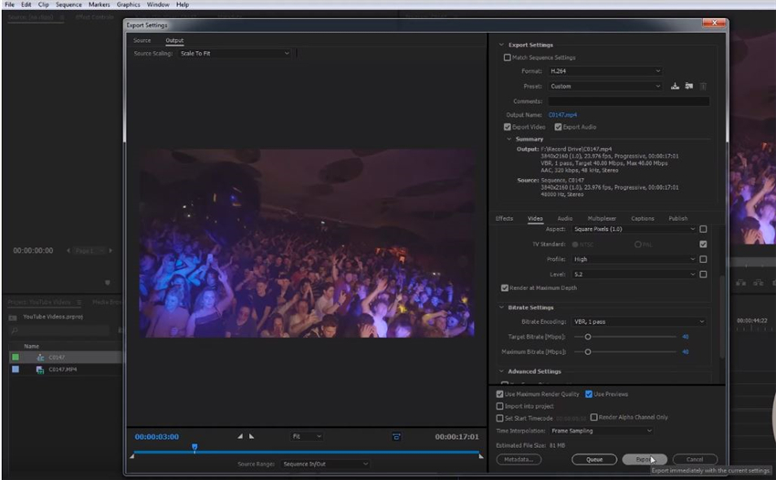 final setting to export