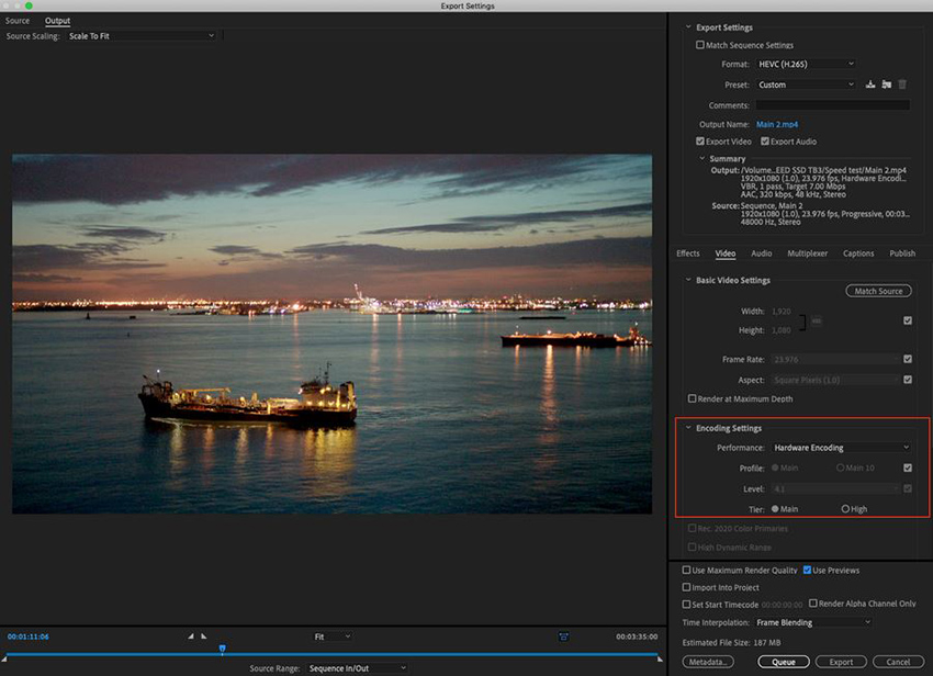 h.265 format to export