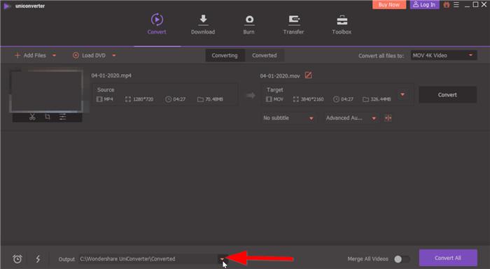 select folder to output