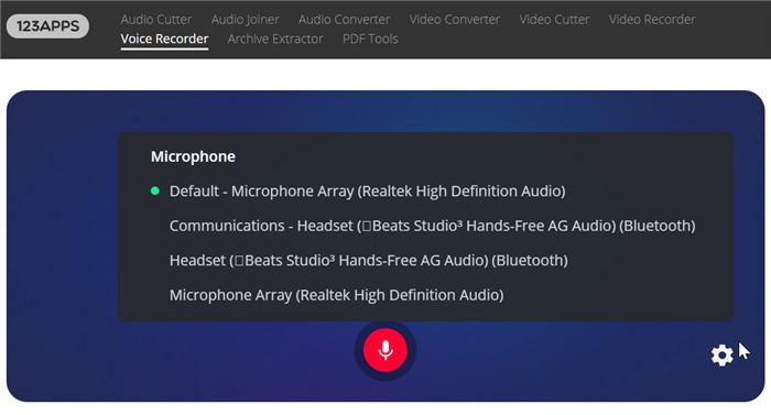 select audio input device