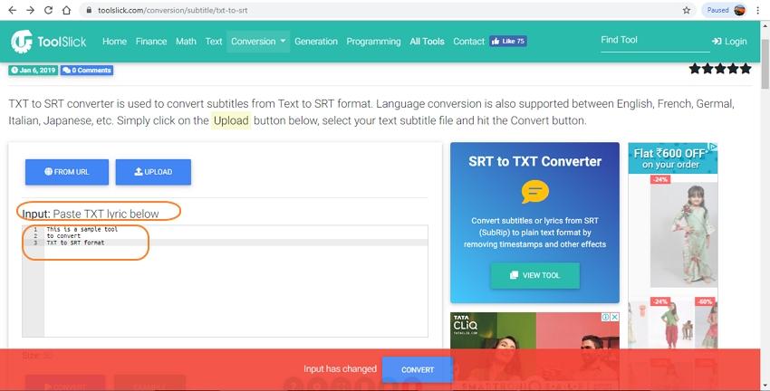 open txt to srt converter online