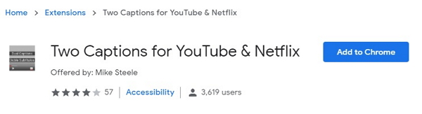 Open two caption youtube and netflix