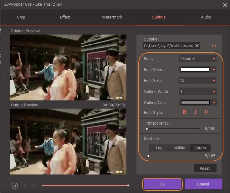 adjust subtitle settings