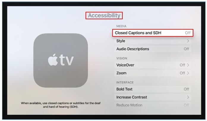 turn on subtitles on apple tv