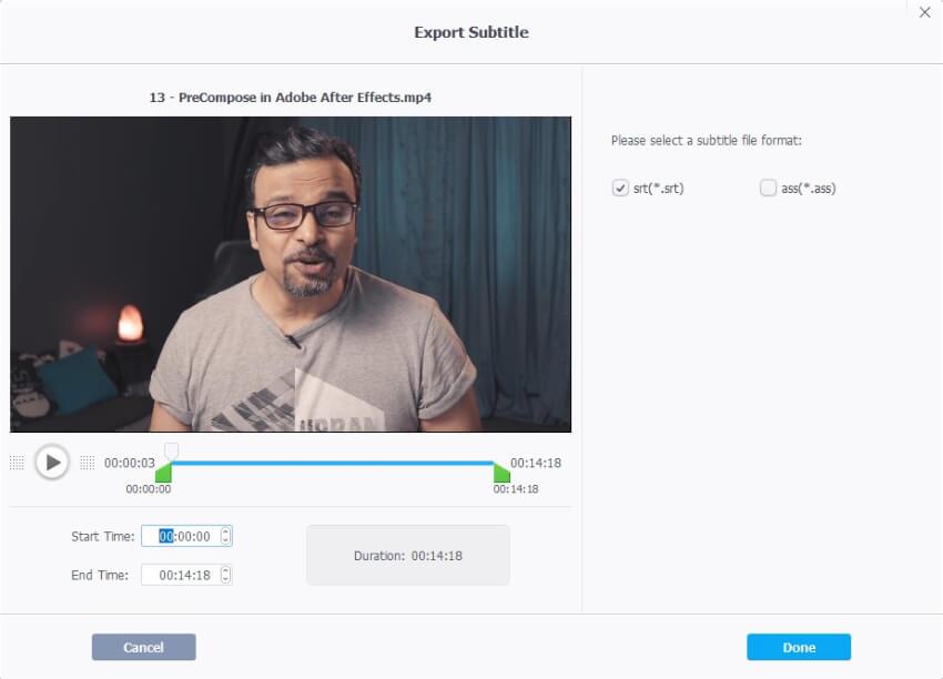 VideoProc subtitle extractor