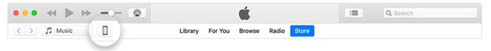 choose the device in iTunes