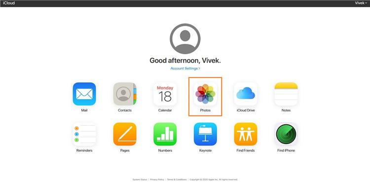 choose Photos in iCloud
