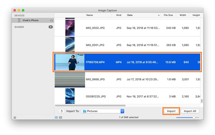 choose video to import