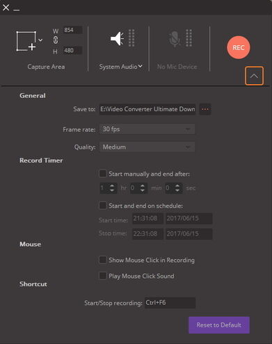 general settings to record