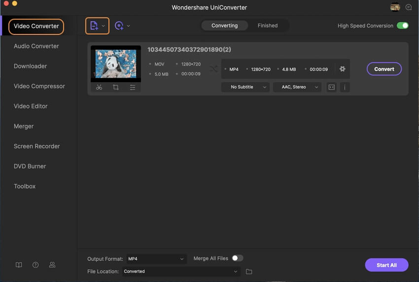 Launch Wondershare MOV to محول MP4 Mac and add MOV files