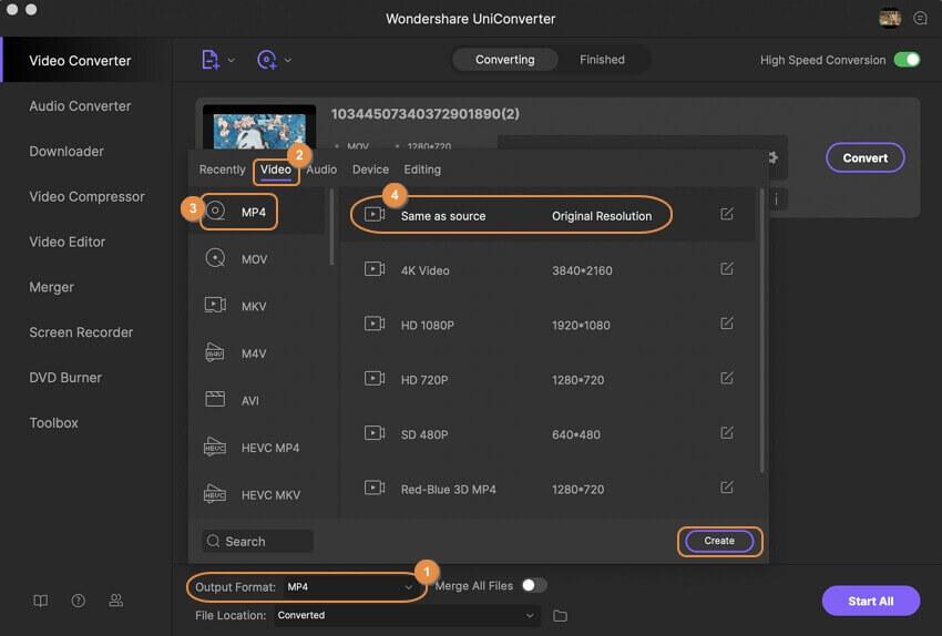 حدد MP4 لصيغة الإخراج لتحويل MOV إلى MP4 على Mac