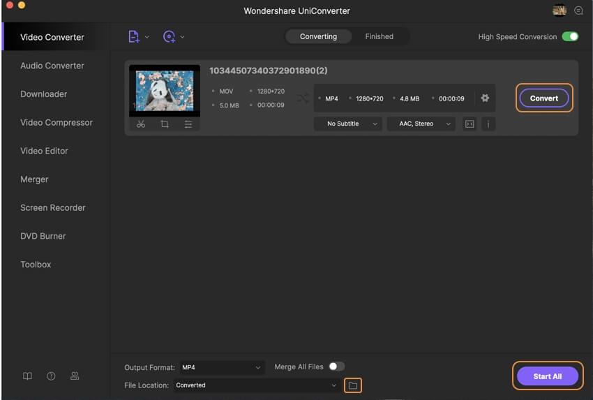 ابدأ في تحويل MOV إلى MP4 على Mac