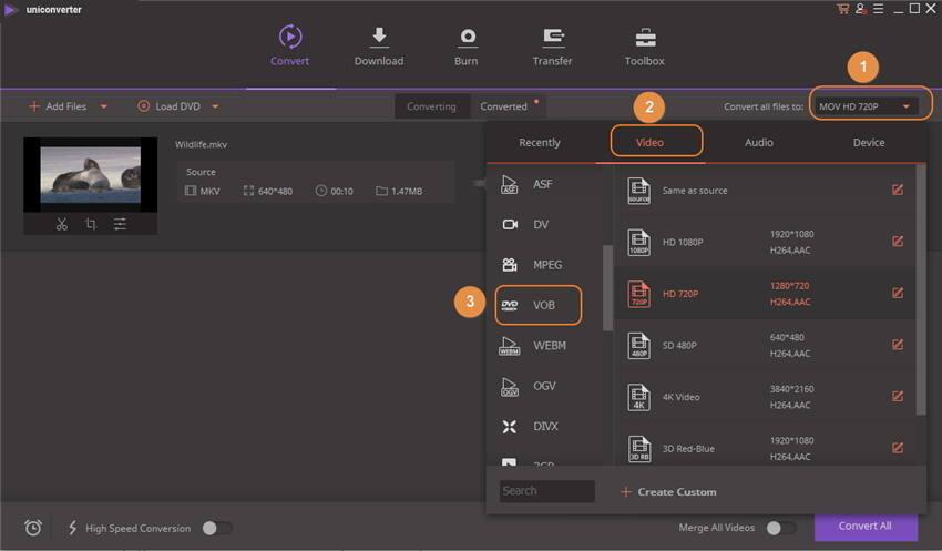 convert mkv to vob - choose format