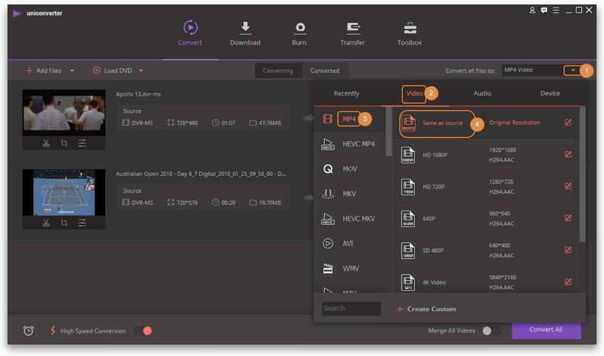 Modifier les fichiers DVR-MS, comme tailler, recadrer, etc.