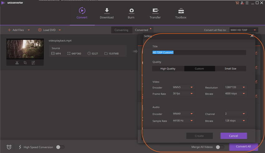 Compresser les fichiers FLV - créer personnalisé