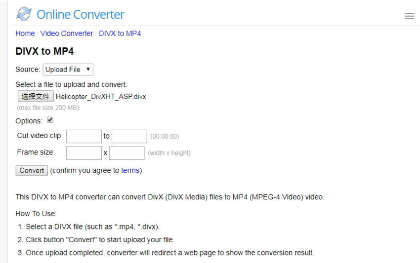 conversion de DivX en MP4 en ligne