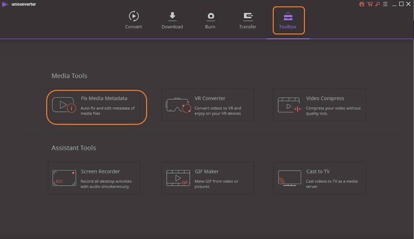 launch Wondershare metadata editor