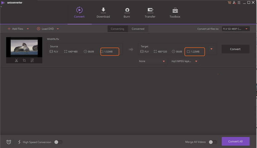 Compresser les fichiers FLV - Commencer à compresser