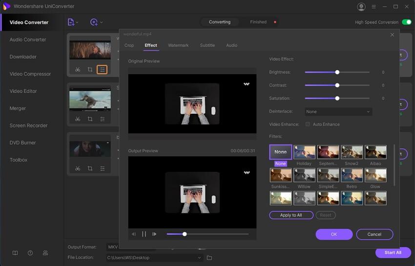 edit videos like applying effects
