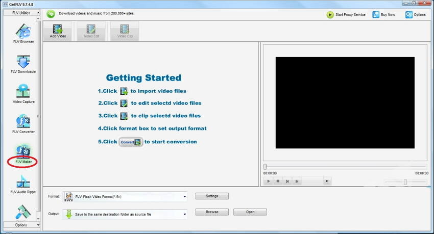 Get FLV free YouTube MP4 converter