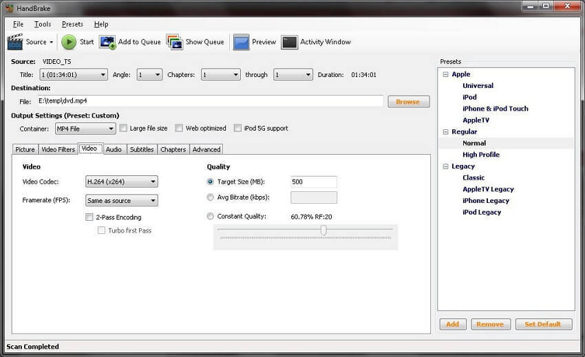 Free MP4 to AVI converter Handbrake