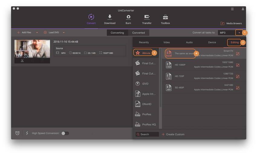 Scegli il formato di uscita per iMovie - iMovie non importa file MP4