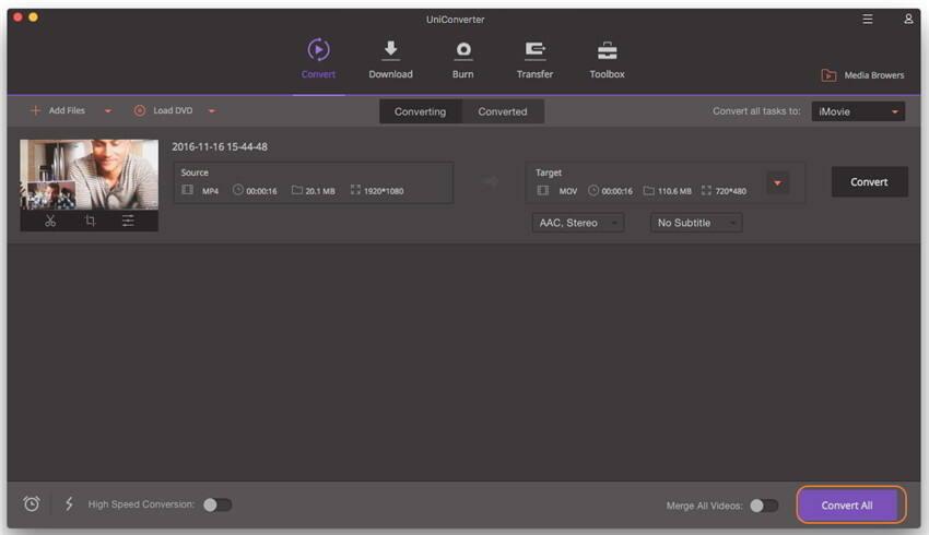 Converta seu arquivo MP4 para o iMovie - o iMovie não importará arquivos MP4