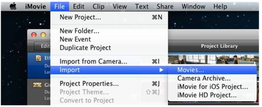 Import converted MOD files to iMovie- How to import mod to iMovie