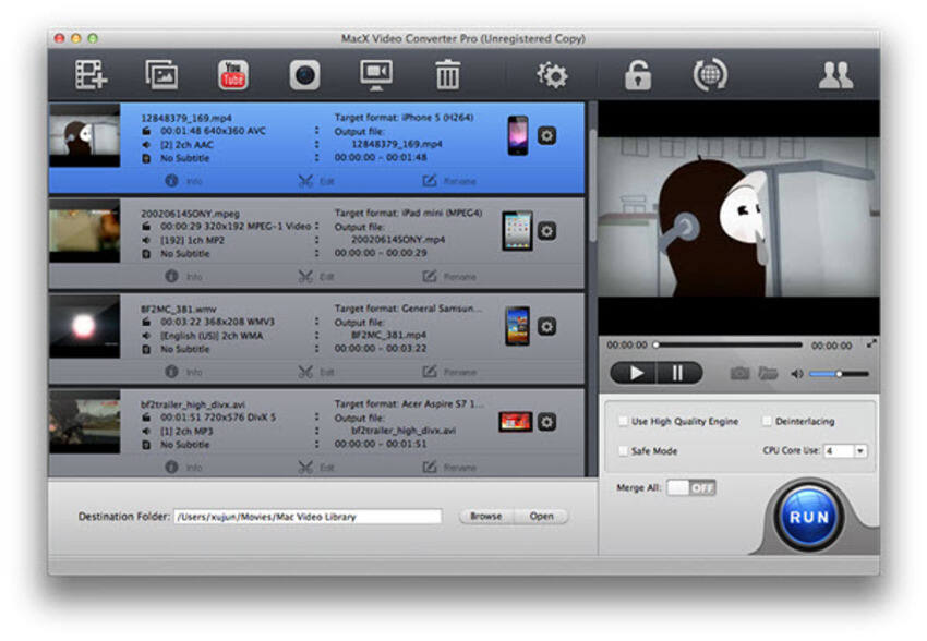 YouTube zu MP4 Konverter für Mac Mac X Video Converter