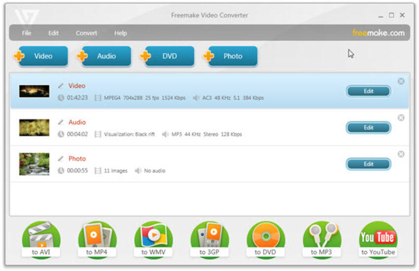 YouTube zu MP4 Konverter unter Windows - Freemake Video Converter