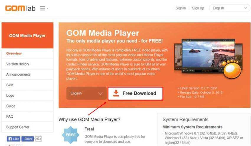 GOM Player لـ mp4 no sound