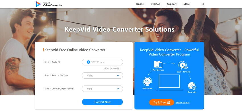 convert MOV to MP4 Mac with online converters