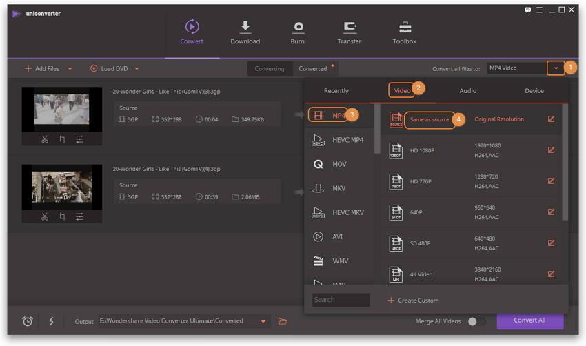 Seleziona MP4 come formato di output per il covnertitore 3GP