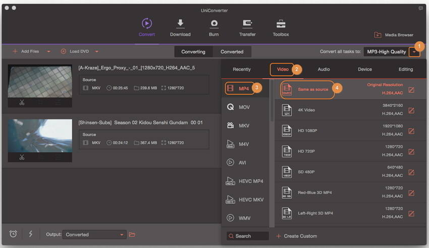 Convert MKV to MP4 - Selecione MP4 como o formato de saída