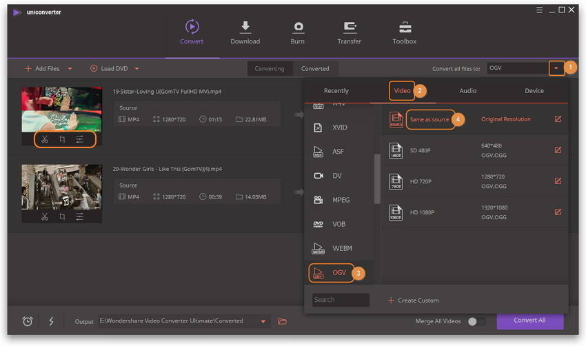 Setze das Output-Format für die MP4 zu OGV umwandlung auf OGV