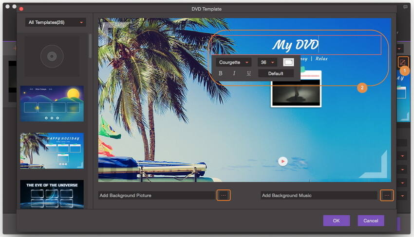 Burn MP4 to DVD - Change Template
