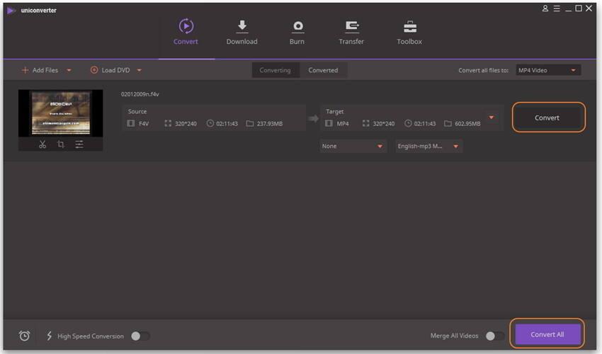 F4V in MP4 ohne Qualitätsverlust konvertieren