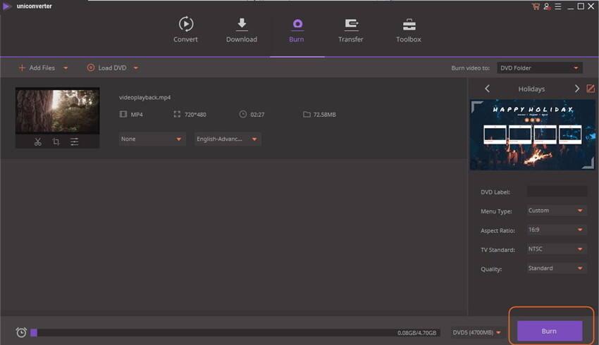 """creador de dvd para windows 10 - hacer click en el botón """"Grabar"""""""