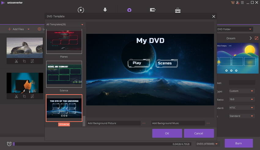 choose DVD menus