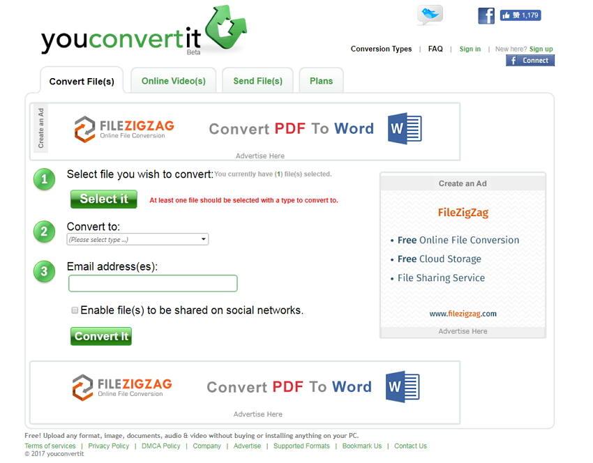 online avi Konverter YouConvertit