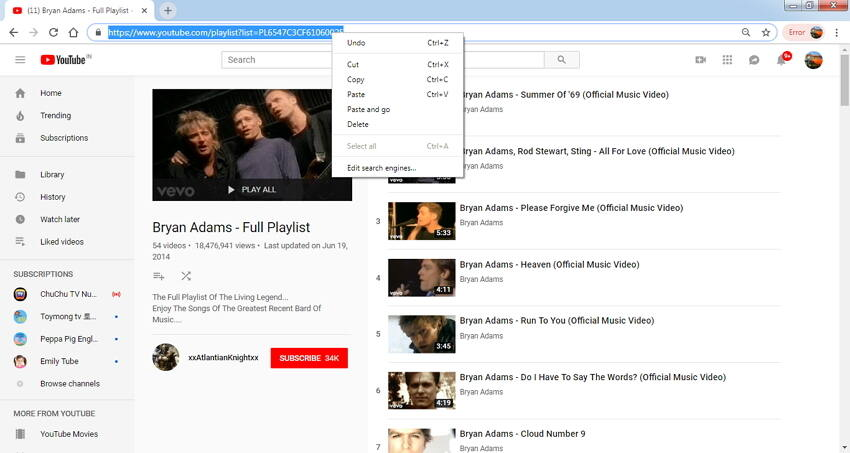 copier l'URL de la playlist YouTube