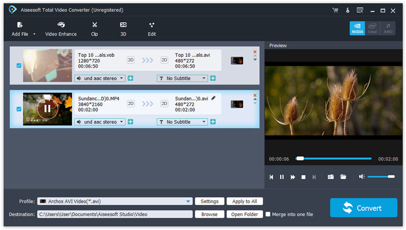 Aiseesoft Total Video Converter to convert 1080p to 720p videos